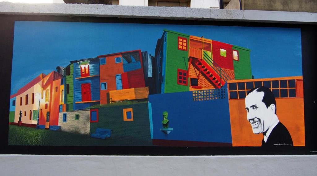 Граффити в Ла Бока - Гардель на фоне района