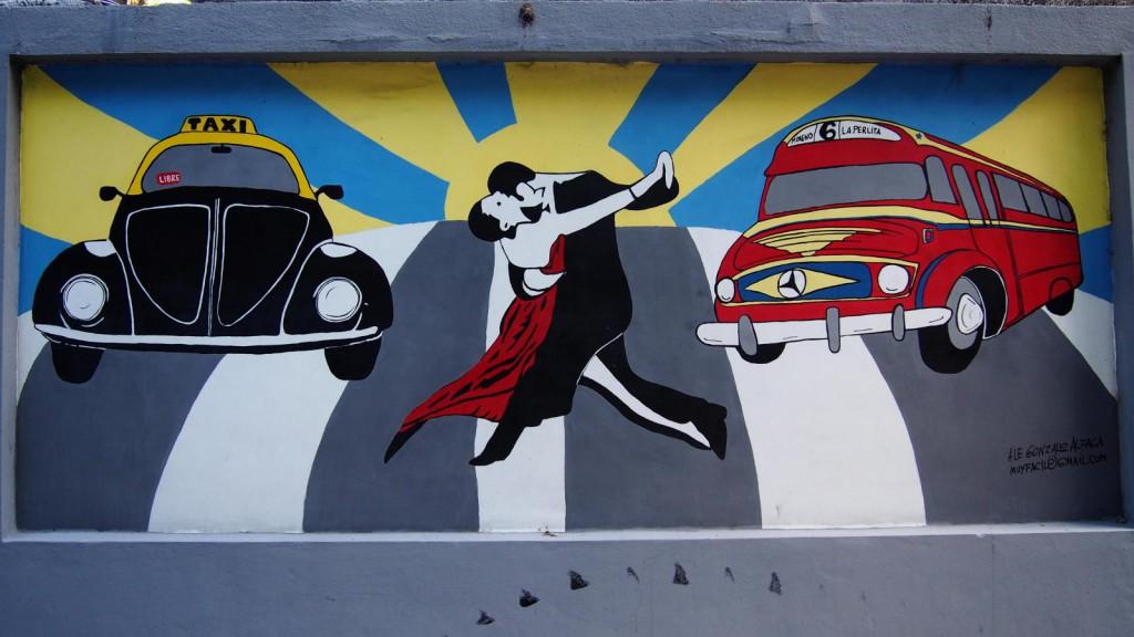 "Граффити госпиталя Ривадавия - старое такси, танго, ""колективо"""