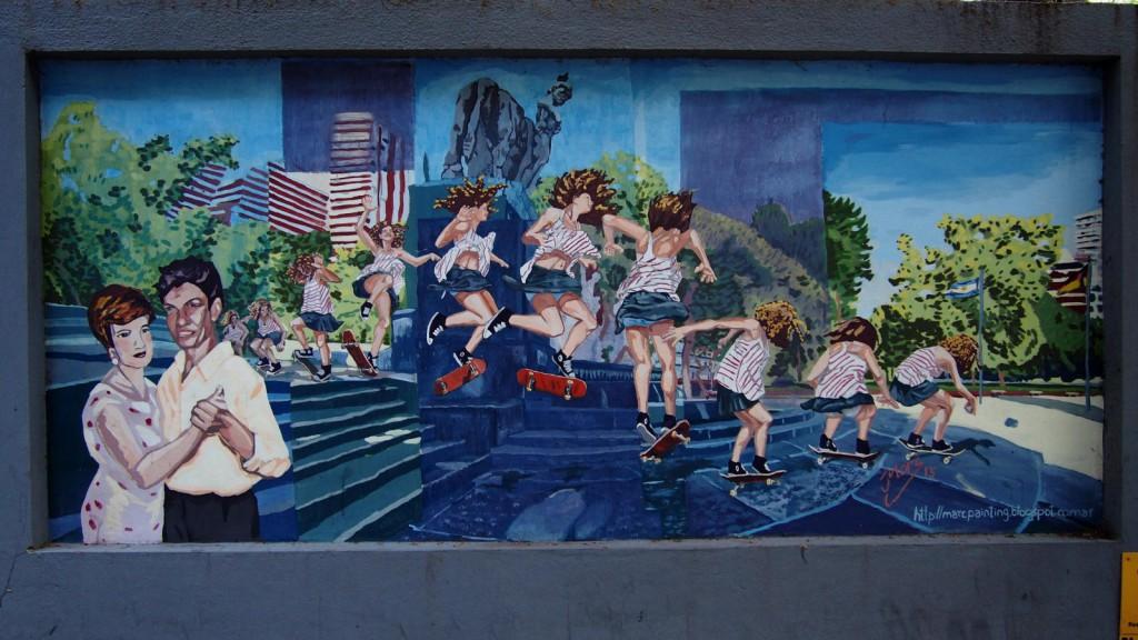 Граффити госпиталя Ривадавия - танго и скейтборды