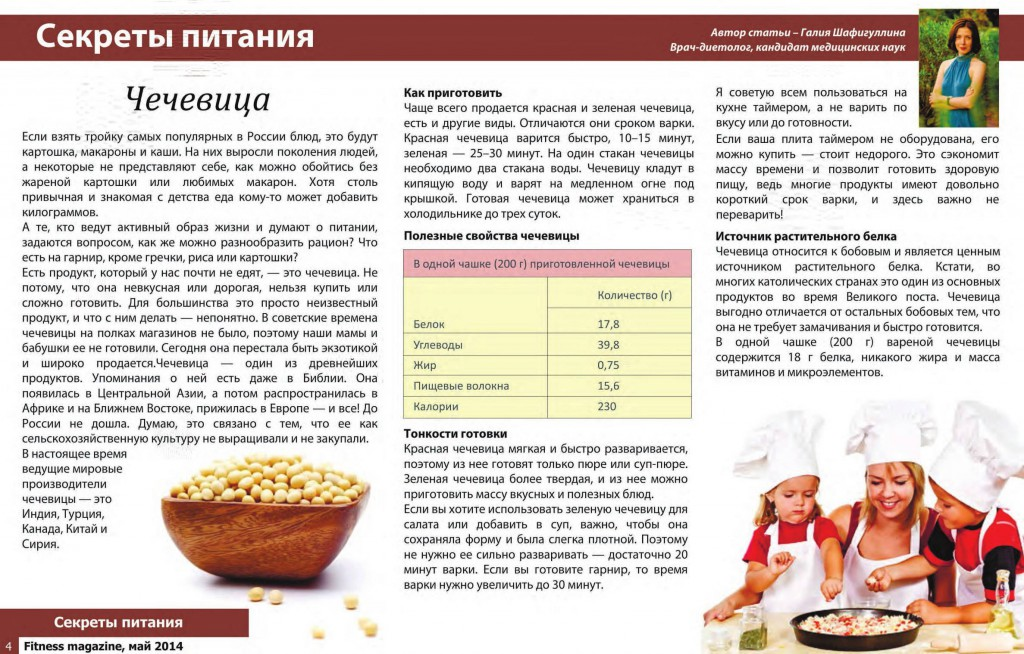 Журнал Фитнесс Магазин №5, 2014 год. Чечевица.