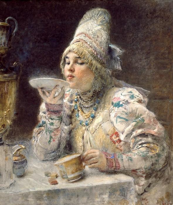 "Картина К.Е.Маковского ""За чаем""."