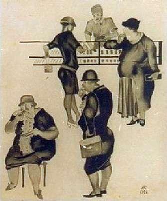 """Как видим, на рисунке А.Дейнеки """"В кондитерской"""" (1926) там собрались явно не рабочие. :) Товарищ! Комсомолец! Сладости - это не еда, а пустая трата денег."""