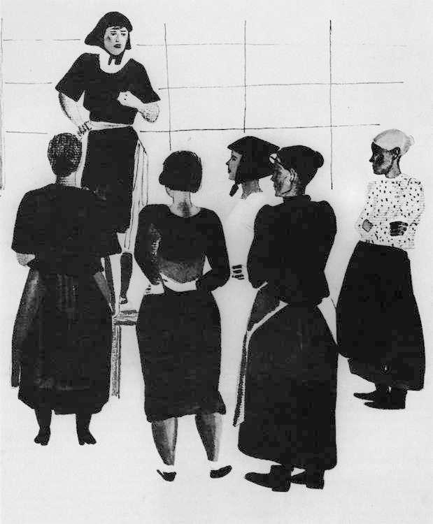 А.Дейнека. Женское собрание (1925). На собраниях комсомольцев формировались новые взгляды и ценности.